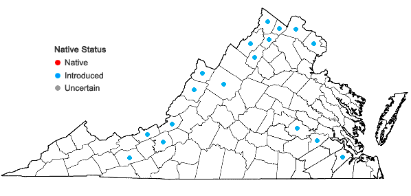 Locations ofTorilis japonica (Houtt.) DC. in Virginia