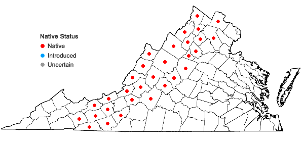 Locations ofTrientalis borealis Raf. in Virginia