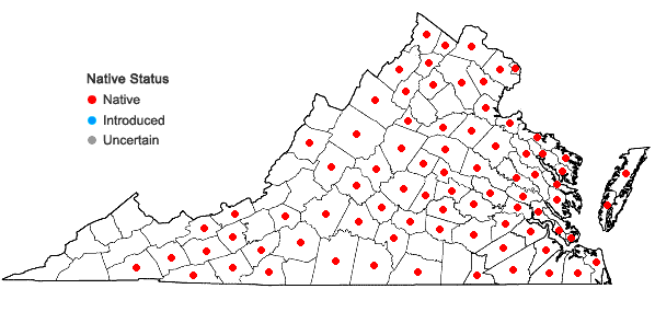 Locations ofVitis labrusca L. in Virginia