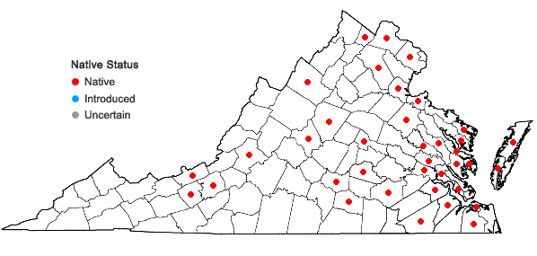 Locations ofWolffia brasiliensis Weddell in Virginia