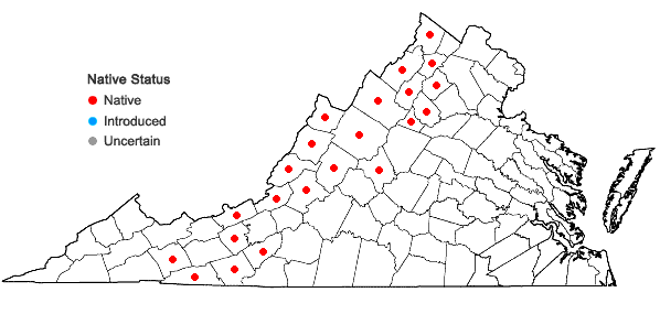 Locations ofWoodsia ilvensis (L.) R. Br. in Virginia